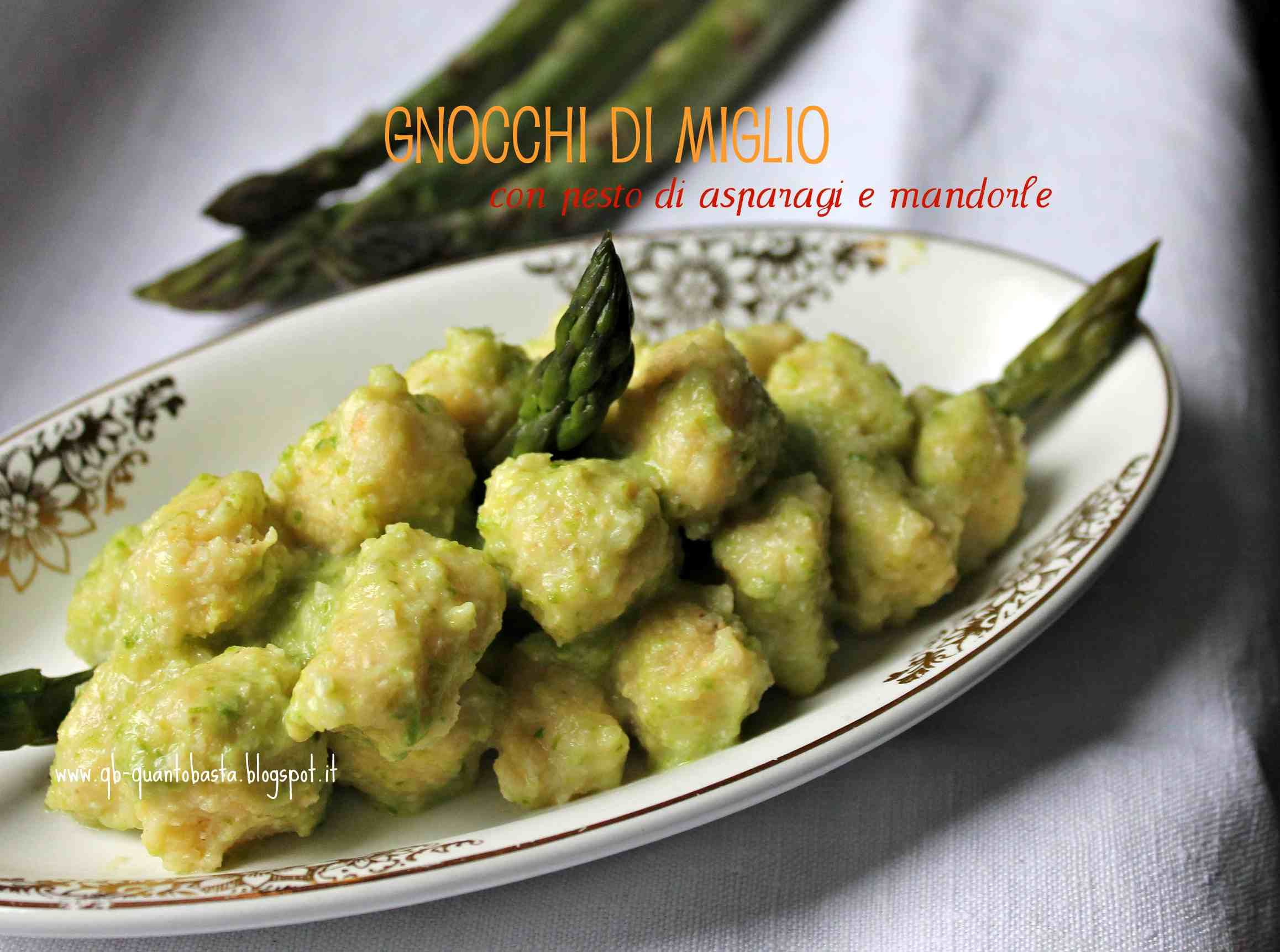 Ricetta Gnocchi Con Farina Di Miglio.Gnocchi Di Miglio Con Pesto Di Asparagi E Mandorle 3 5 5