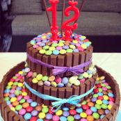 Torta di compleanno Kit Kat con Smarties