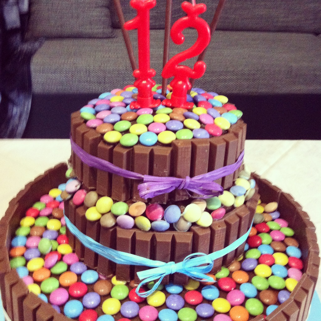 Torta di compleanno kit kat con smarties 3 5 5 for Decorazione torte con smarties