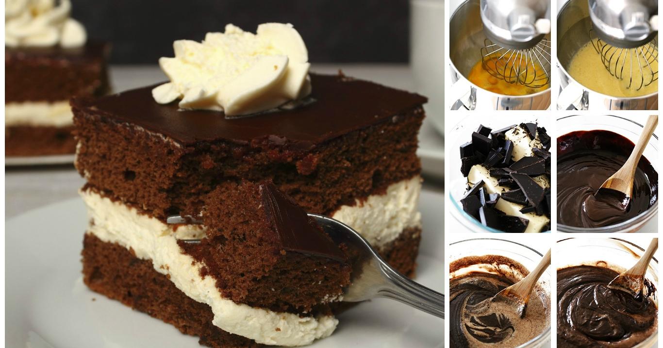 Pan di spagna al cioccolato e crema alla vaniglia 4 2 5 - Glassa a specchio su pan di spagna ...